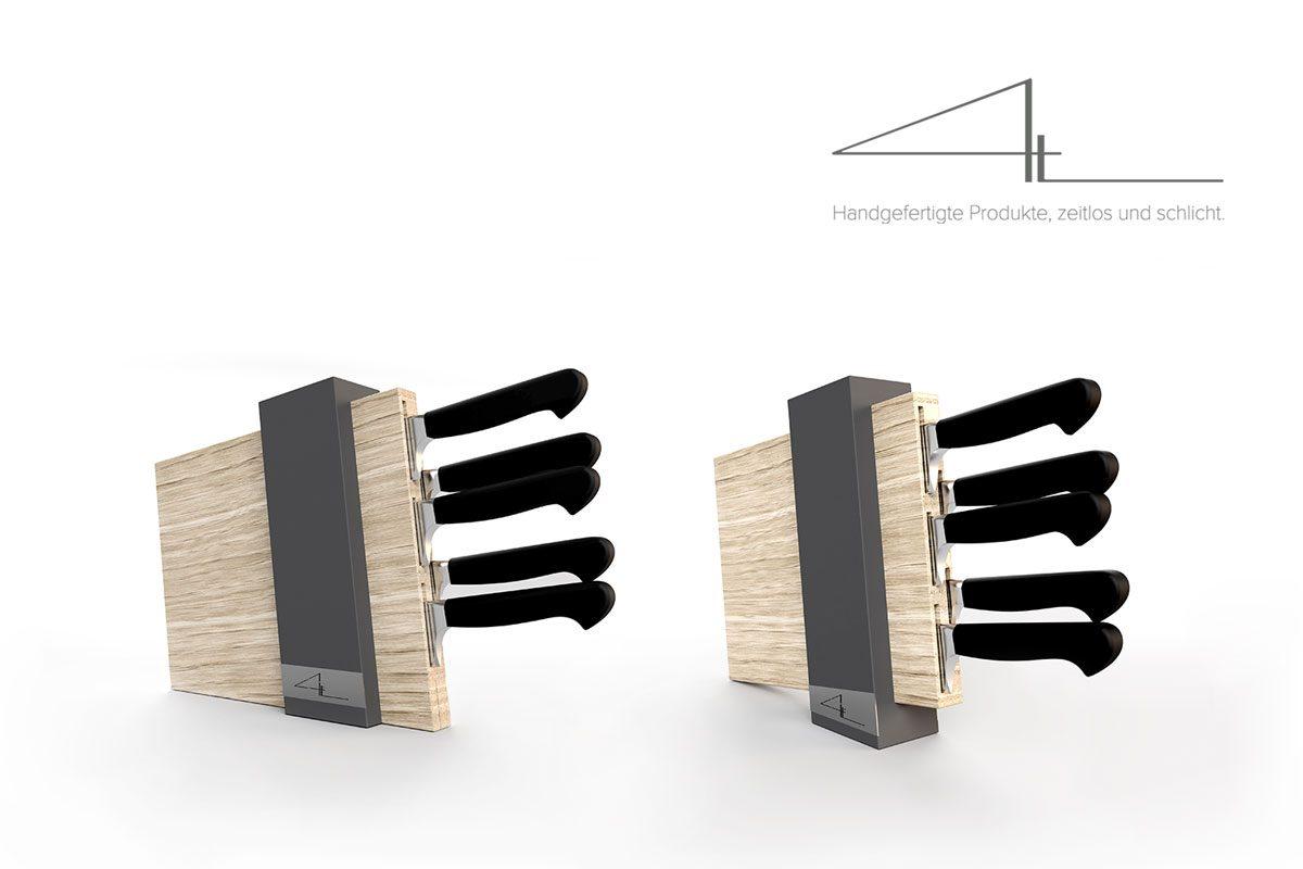 Handgefertigtes Design von Studio 4L jetzt auf für dein Zuhause. Der moderne und zugleich schmale Messerblock aus Beton und Holz als echtes Highlight in der Küche.